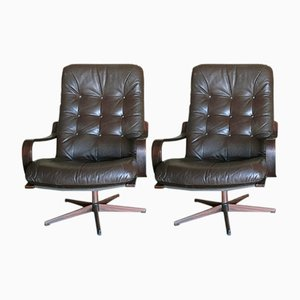 Pair of Swedish Brown Leather Swivel Chairs, 1970s