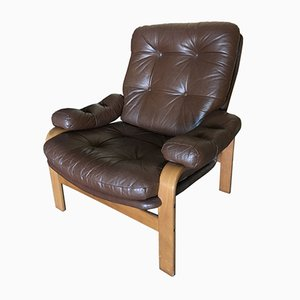 Vintage Swedish Leather Lounge Chair