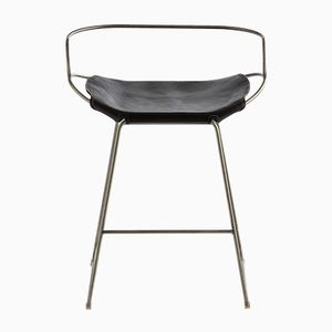 Old Silver Steel & Black Vegetable Tanned Leather Hug Arm Counter Stool by Jover+Valls