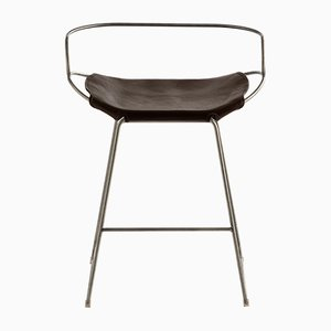 Old Silver Steel and Dark Brown Tanned Leather Hug Counter Stool by Jover Valls