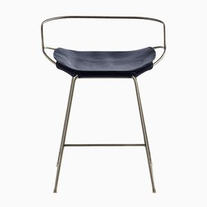 Old Silver Steel & Navy Blue Tanned Leather Hug Arm Counter Stool by Jover+Valls