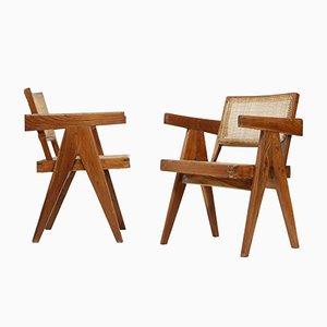 Sedie da ufficio in teak e vimini di Pierre Jeanneret, 1956, set di 2