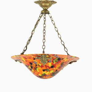 Lámpara Clichy francesa Art Déco de cristal, años 20