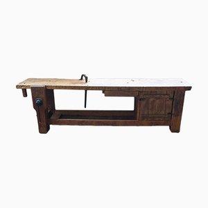 Tavolo da lavoro grande in quercia, anni '50