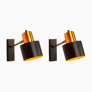 Mid-Century Copper Alfa Wall Lights by Johannes Hammerborg for Fog & Morup, 1963, Set of Two