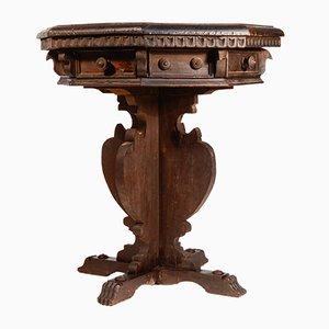 Tavolino da caffè ottagonale antico in abete ebanizzato con otto cassetti