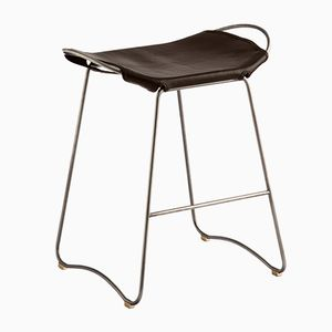 Old Silver Steel & Dark Brown Vegetable Tanned Leather Hug Counter Stool by Jover+Valls