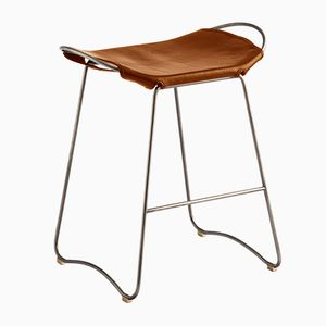 Old Silver Steel & Natural Tobacco Vegetable Tanned Leather Hug Counter Stool by Jover+Valls