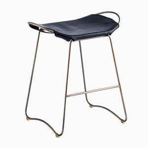 Old Silver Steel & Navy Blue Vegetable Tanned Leather Hug Counter Stool by Jover+Valls