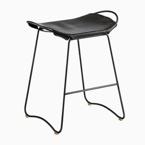 Black Smoke Steel & Black Vegetable Tanned Leather Hug Counter Stool by Jover+Valls