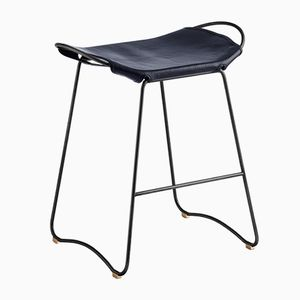 Black Smoke Steel & Navy Blue Vegetable Tanned Leather Hug Counter Stool by Jover+Valls