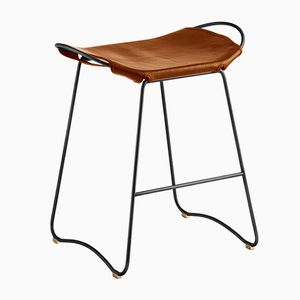 Black Smoke Steel & Natural Tobacco Vegetable Tanned Leather Hug Counter Stool by Jover+Valls