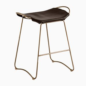 Aged Brass Steel & Dark Brown Vegetable Tanned Leather Hug Counter Stool by Jover+Valls