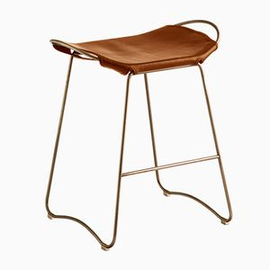 Aged Brass Steel and Natural Tanned Leather Hug Counter Stool by Jover Valls