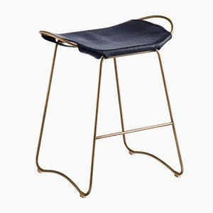 Aged Brass Steel & Navy Blue Vegetable Tanned Leather Hug Counter Stool by Jover+Valls