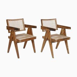 Stühle mit Sitz & Rückenlehne aus Schilfrohr von Pierre Jeanneret, 1956, 2er Set