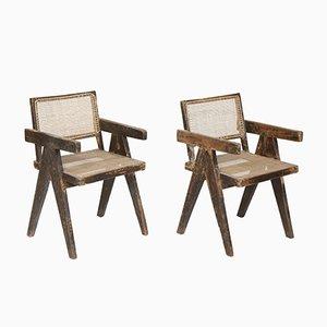 Chaises de Bureau en Jonc par Pierre Jeanneret, 1956, Set de 2