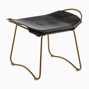 Aged Brass Steel & Black Vegetable Tanned Leather Hug Footstool by Jover+Valls