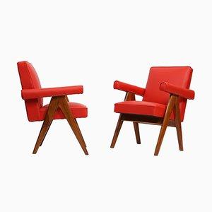 Senate Committee Stühle von Pierre Jeanneret, 1955, 2er Set
