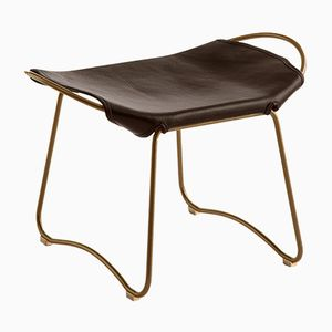 Aged Brass Steel & Dark Brown Vegetable Tanned Leather Hug Footstool by Jover+Valls