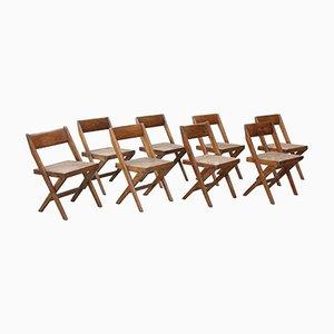 Sedie da biblioteca di Pierre Jeanneret, anni '60, serie di 8