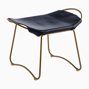 Aged Brass Steel and Navy Blue Tanned Leather Hug Footstool by Jover Valls