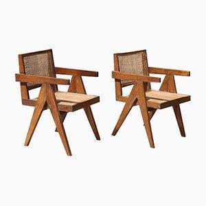 Bürostühle mit Sitz & Rückenlehne aus Schilfrohr von Pierre Jeanneret, 1950er, 2er Set