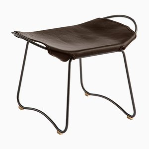 Black Smoke Steel & Dark Brown Vegetable Tanned Leather Hug Footstool by Jover+Valls