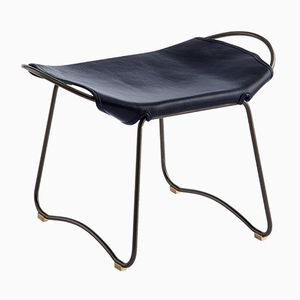 Black Smoke Steel & Navy Blue Vegetable Tanned Leather Hug Footstool by Jover+Valls