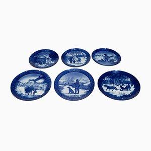 Assiettes Bleues et Blanches Vintage de Royal Copenhagen, Set de 6