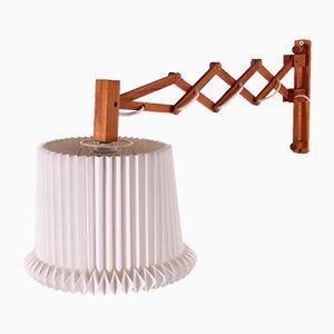Large Mid-Century Danish Wood & Plastic Scissor Lamp by Kaare Klint