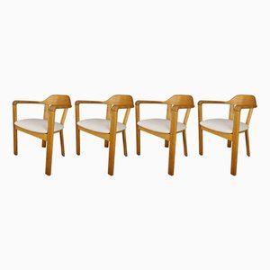 Oak Armchairs, 1970s, Set of 4