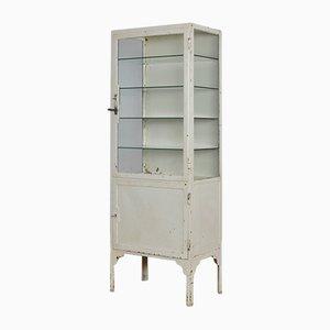 Vitrina médica industrial vintage de hierro y vidrio, años 40