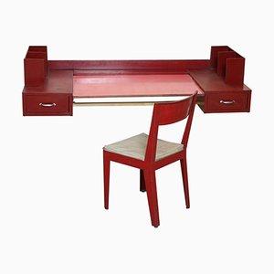 Vintage Office Table & Chair by Jean Prouvé & Jules Leleu, 1930s