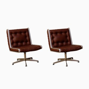 Swedish Swivel Easy Chairs, 1970s, Set of 2