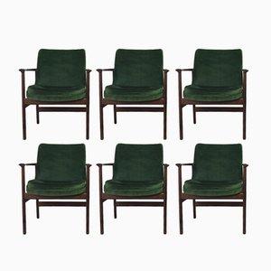 Dunkelgrüne dänische Vintage Sessel mit Bezug aus Velourssamt von Ib Kofod-Larsen für Fröscher KG, 1960er, 6er Set
