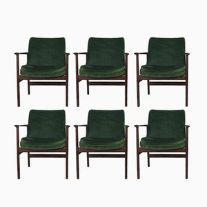 Vintage Danish Deep Green Velour Armchairs by Ib Kofod-Larsen for Fröscher KG, 1960s, Set of 6