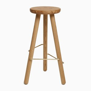 Small Natural Oak Bar Stool One by Another Country
