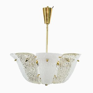 Brass, Textured & Frosted Glass Chandelier, 1950s