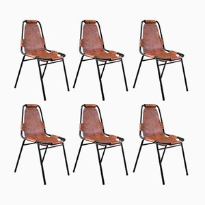 Mid-Century Leather Les Arcs Chairs by Charlotte Perriand, 1960s, Set of 6