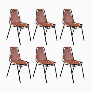 Mid-Century Les Arcs Stühle mit Sitz aus Leder von Charlotte Perriand, 1960er, 6er Set