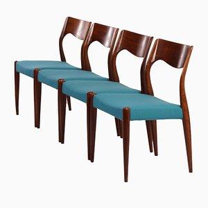 Sedie da pranzo nr. 71 in palissandro di Niels Moller per J.L. Møllers, anni '60, set di 4