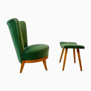 Mid-Century Velvet & Birch Easy Chair & Stool, 1950s