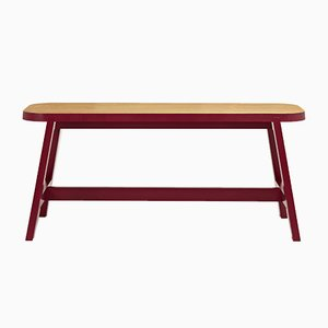 Banco Mini Bench Three de roble en rojo Wellington de Another Country