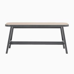 Small Grey Lacquered Beech Bench Three by Another Country