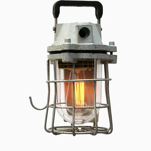 Mid-Century European Mining Cage Light