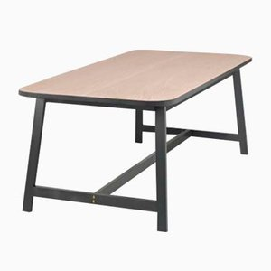 Grey Lacquered Oak Dining Table Three by Another Country