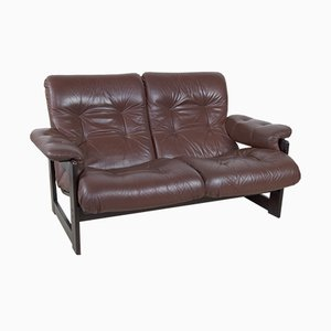 Vintage Leather & Rosewood Sofa, 1960s