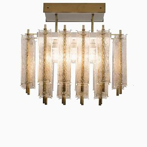 Mid-Century Structured Glass and Brass Chandelier, 1960s