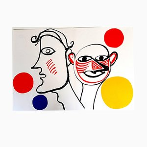 Lithographie Behind the Mirror par Alexander Calder, 1976